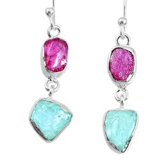 10.28cts natural pink ruby raw aquamarine rough 925 silver earrings r74308