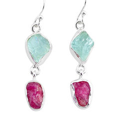 11.71cts natural pink ruby raw aquamarine rough 925 silver earrings r93662