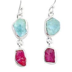 12.17cts natural pink ruby raw aquamarine rough 925 silver earrings r93663