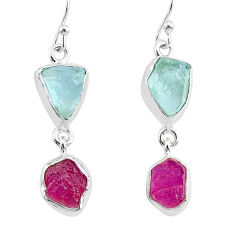 12.10cts natural pink ruby raw aquamarine rough 925 silver earrings r93665