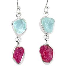 11.57cts natural pink ruby raw aquamarine rough 925 silver earrings r93666