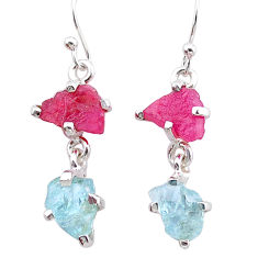 8.15cts natural pink ruby rough aquamarine raw 925 silver earrings t25581