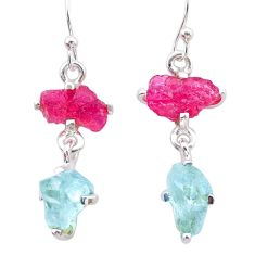 8.68cts natural pink ruby rough aquamarine raw 925 silver earrings t25582