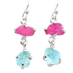 8.70cts natural pink ruby rough aquamarine raw 925 silver earrings t25583