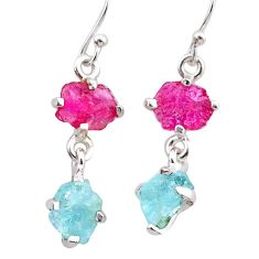 7.72cts natural pink ruby rough aquamarine raw 925 silver earrings t25585