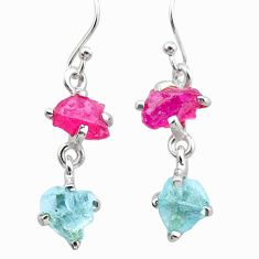 6.62cts natural pink ruby rough aquamarine raw 925 silver earrings t25586