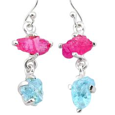 8.55cts natural pink ruby rough aquamarine raw 925 silver earrings t25587