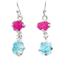 8.10cts natural pink ruby rough aquamarine raw 925 silver earrings t25589