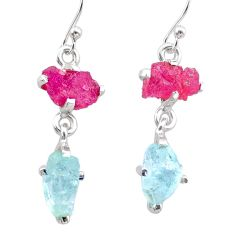 8.68cts natural pink ruby rough aquamarine raw 925 silver earrings t25593