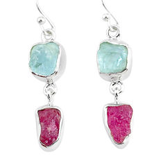 11.57cts natural pink ruby raw aquamarine rough silver dangle earrings r93661