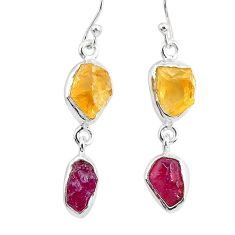 12.60cts natural pink ruby raw citrine rough 925 silver dangle earrings r93741