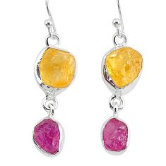12.12cts natural pink ruby raw citrine rough 925 silver dangle earrings r93742
