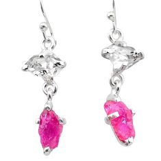 8.10cts natural pink ruby rough herkimer diamond 925 silver earrings t25544