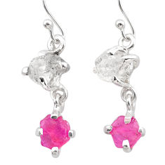 8.73cts natural pink ruby rough herkimer diamond 925 silver earrings t25545