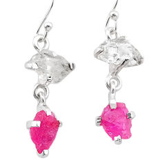 8.73cts natural pink ruby rough herkimer diamond 925 silver earrings t25547
