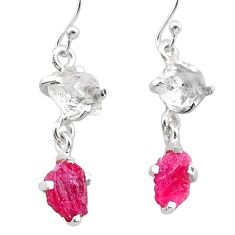 8.73cts natural pink ruby rough herkimer diamond 925 silver earrings t25548