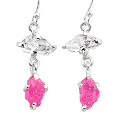 8.15cts natural pink ruby rough herkimer diamond 925 silver earrings t25550
