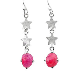 7.91cts natural pink ruby raw herkimer diamond 925 silver earrings t25692