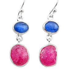 13.69cts natural pink ruby raw kyanite 925 silver dangle earrings t38199