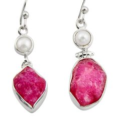 16.54cts natural pink ruby rough pearl 925 sterling silver earrings d47352