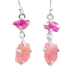 8.42cts natural pink ruby rough rose quartz raw 925 silver earrings t25611