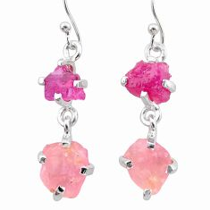 10.43cts natural pink ruby rough rose quartz raw 925 silver earrings t25613