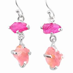 10.11cts natural pink ruby rough rose quartz raw 925 silver earrings t25615