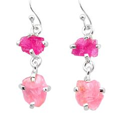 8.42cts natural pink ruby rough rose quartz raw 925 silver earrings t25618