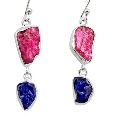 14.40cts natural pink ruby rough sapphire rough 925 silver earrings r26594