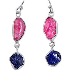 15.85cts natural pink ruby rough sapphire rough 925 silver earrings r55387