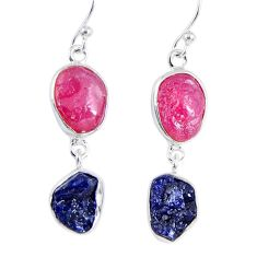 18.15cts natural pink ruby rough sapphire rough 925 silver earrings r55388