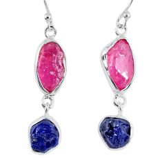 15.39cts natural pink ruby rough sapphire rough 925 silver earrings r55391