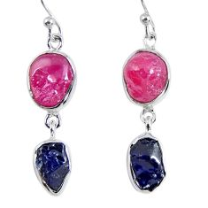 14.40cts natural pink ruby rough sapphire rough 925 silver earrings r55392