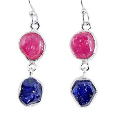 17.20cts natural pink ruby rough sapphire rough 925 silver earrings r55394