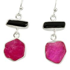 13.39cts natural pink ruby rough tourmaline rough 925 silver earrings d40338