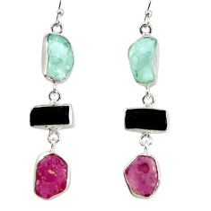 23.11cts natural pink ruby rough tourmaline rough 925 silver earrings d40350