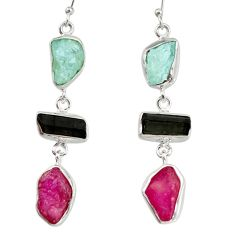 23.48cts natural pink ruby rough tourmaline rough 925 silver earrings d40352