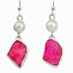 12.34cts natural pink ruby rough white pearl 925 silver dangle earrings d40321
