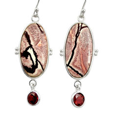 18.14cts natural pink sonoran dendritic rhyolite 925 silver earrings r28961