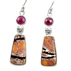 13.13cts natural pink sonoran dendritic rhyolite 925 silver earrings r28963
