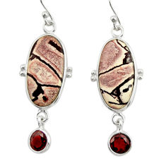 12.54cts natural pink sonoran dendritic rhyolite 925 silver earrings r28965