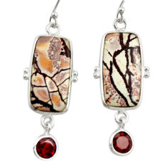 14.08cts natural pink sonoran dendritic rhyolite 925 silver earrings r28966