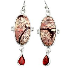 13.13cts natural pink sonoran dendritic rhyolite 925 silver earrings r28969