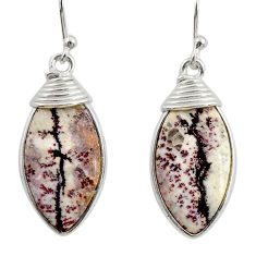 10.89cts natural pink sonoran dendritic rhyolite 925 silver earrings r28972