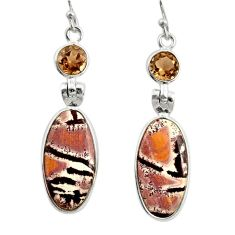 13.13cts natural pink sonoran dendritic rhyolite 925 silver earrings r28973