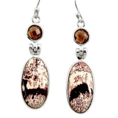 14.08cts natural pink sonoran dendritic rhyolite 925 silver earrings r28978