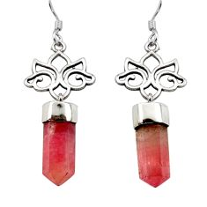 9.16cts natural pink tourmaline 925 sterling silver dangle earrings d40568