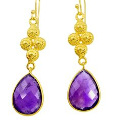 Clearance Sale- 18.12cts natural purple amethyst 925 silver 14k gold dangle earrings d40368