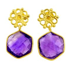 12.52cts natural purple amethyst 925 silver 14k gold dangle earrings d40375