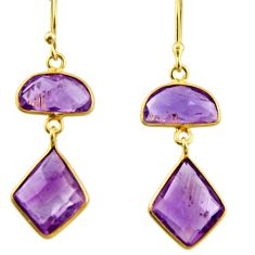 11.93cts natural purple amethyst 925 silver 14k gold dangle earrings r31642